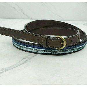 Ann Taylor Loft Blue Beaded Vegan Leather Belt
